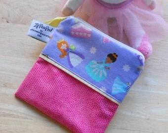 "Reusable Snack Sack, Mini Size - 5"" x 5""- Nylon lined, Machine Washable, Zippered, EcoFriendly, Princess Motif"