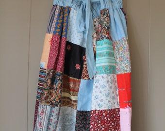 80s Prairie Skirt / Quilted Midi Skirt / Handmade Skirt / Hippie Skirt /Patchwork Bohemian skirt
