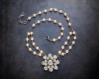 Antique Pearl Rhinestone Edwardian Assemblage Necklace Large Vintage Rhinestone Sunburst Flower Pendant