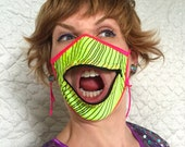 Neon Glow zipper mask: blacklight-reactive dust mask with zipper mouth for Burning Man, EDC, raves, festivals; surgical mask