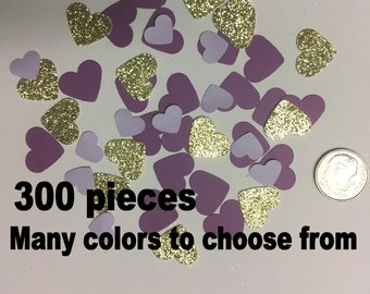 "Heart Confetti  300 pieces, Purple and  Gold or other colors.  5/8"" and 6/16"" size Confetti"