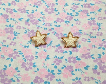 Vintage 1980s Little Pearly Starfish Earrings
