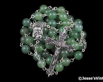 Catholic Rosary Beads Green Aventurine Silver Traditional Natural Stone Five Decade Unisex Gift Mens Rosary