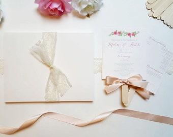 DIY Wedding Program Fan Kit / Printable Fan Program / Wedding Hand Fan / DIY Fan Kit with Rose Floral Printable - Standard Package