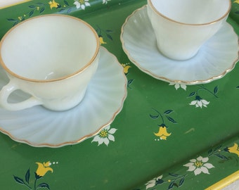 Anchor Hocking Fire King Swirl Golden Shell Milk Glass: 2 Cups with Saucers