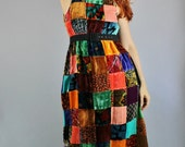 Vintage 60s 70s Rare OOAK Bohemian Velvet Patchwork Rainbow Multicolored Maxi Dress // Hippie Festival Dress