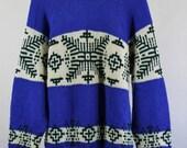 SALE - Vintage Tribal Pattern Snowflake Wool Fall Winter Sweater - Mens Size Medium