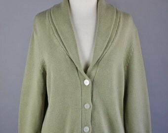 Vintage 90s Women's Chaps Ralph Lauren Light Sage Green Shawl Collar Cotton Fall Winter Cardigan Sweater