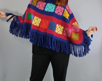 Vintage 70s Granny Square Women's Multicolored Crochet Fringe Hippie Poncho Sweater