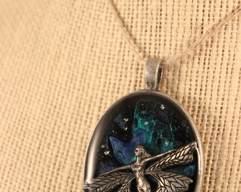 Flying Faerie Hand Painted Galaxy Epoxy Pendant