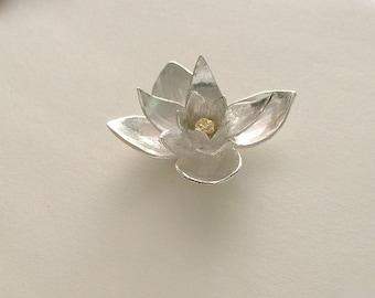 lotus sculpture, silver lotus, yoga jewelry, lotus flower, lotus pendant, yoga practice, mixed metal, silver sculpture, yoga necklace,
