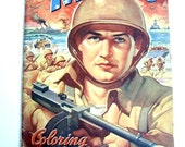 """Vintage """"The U.S. Marines"""" Coloring Book, 1942- FREE SHIPPING"""