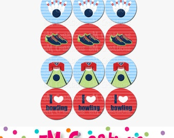 Bowling Party Printable Cupcake Toppers - Bowling Labels Tags Stickers Favor Tags - Bowling Ball Pins Shoes - Blue Red  INSTANT DOWNLOAD