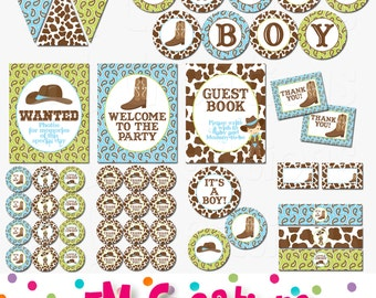 Cowboy Party - Printable Decorations - Western Baby Shower Package - Boot Hat Banner Cupcake Toppers -INSTANT DOWNLOAD Pdf