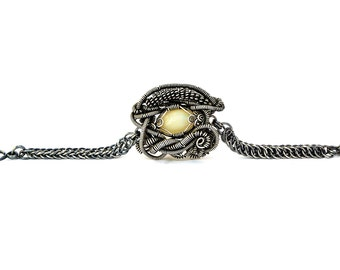 Opal Bracelet, Stone Bracelet, Steampunk Bracelet, Stone Silver Bracelet, Opal Jewelry, Opal Chain Bracelet, Chainmaille Bracelet