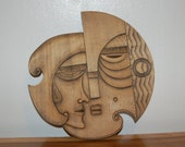 Art Deco Cubism Artist carved wood Wall Plaque  ~ Sun / Moon ~ Man / Woman ~ Tribal ~ Beatnik ~ Tiki ~ Picasso ~MCM ~ Amazing Craftsmanship