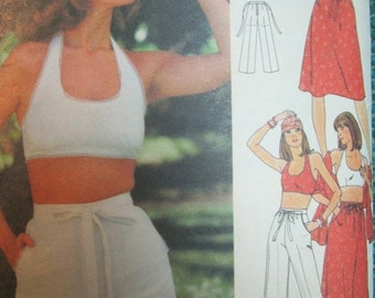 Butterick 4854 Vintage 1970's Halter Top And Maxi Skirt Pattern- Drawstring High Waist Pants or Shorts Pattern-Halter Pattern Size 8 Bust 31