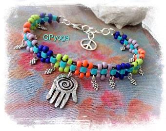 HEALING HAND Ankle Bracelet Hamsa Fatima Hand Rainbow Ethnic Hippie Gypsy stackable bracelet Summer Turquoise Neon Boho Boho jewelry GPyoga