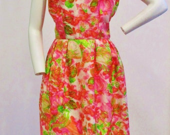 """1960s Pink Floral Print Dress and Matching Scarf 28"""" Waist"""