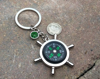 1 - Working Compass  Keychain, Nautical Key ring, custom birthstone, personalized key chain