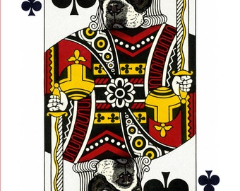 Boston Terrier King of Clubs Handmade Card