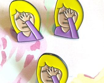 Face palm lapel,enamel pin,emoji pin,enamel lapel pin,brooch,purple, jewelry, cute emoji brooch,emoticon,pinback, iphone brooch, android pin
