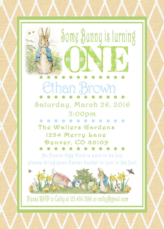 Peter rabbit easter birthday invitations beatrix potter bunny easter il570xn filmwisefo