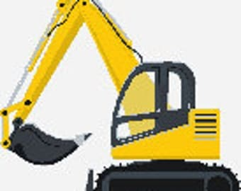 Miniature construction excavator digital embroidery design for hat, Miniature excavator digitized embroidery design
