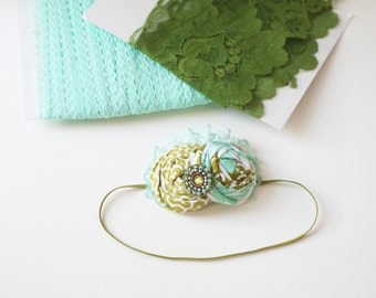 Olive You Forever- aqua and olive sage vintage inspired tulle rosette and lace headband