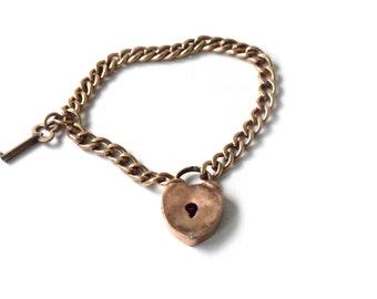 Antique Victorian Padlock Bracelet With Key c.1880s