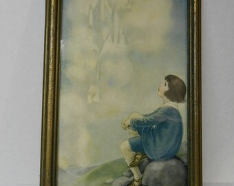 "CASTLE in the CLOUDS Art DECO Framed Print Child in Blue Daydreaming 1930's Wood Frame Print 18"" x 12"" Childs Room Nursery"