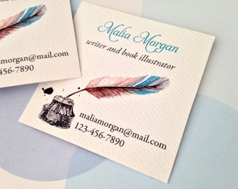 Business Card, Custom Business Card, Writer Card - Set of 48
