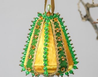 Vintage Bell Hand Beaded Ornament -Sequin Ornament - Gold With Green Beads Christmas Ornament - Pearl Ornament - Retro Holiday Ornament