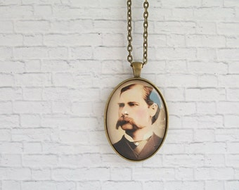 Wyatt Earp Necklace Antique Photo Pendant Western Jewelry
