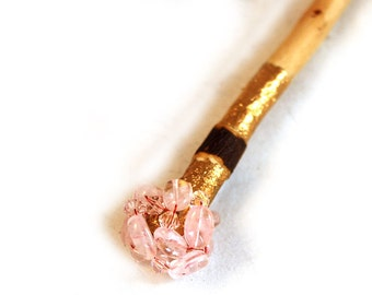 Hair Stick Rose Quartz, Crystal, Apple Wood and 24k gold leaf.