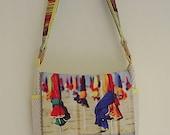 Messenger bag unique to you,Beach umbrella fabric bag,polka dot fabric bag,yellow fabric bag,shoulder bag,fully lined,HANDMADE BY FRALINE