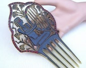 Egyptian Revival figural hair comb Art Deco black celluloid decorative comb headpiece headdress hair jewelry