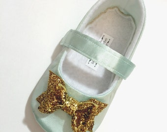 Baby Girl Shoes Toddler Girl Shoes Infant Shoes Soft Soled Shoes Wedding Shoes Flower Girl Shoes Mint Satin gold glitter bow shoes- Belle