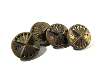 Victorian Buttons Mirror Back Twinkle Antique Buttons Victorian Four (4) Buttons Victorian Jewelry Sewing Reenactment Supplies (D33)