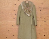 Vintage 60's Sage Green Wool Coat With Front Pockets and Fox Fur Coat Size Small