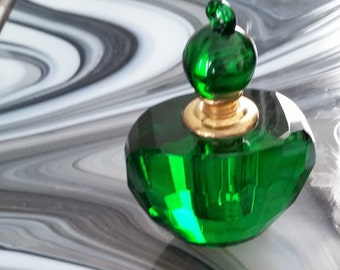 Vintage Forest Green Emerald Faced Perfume Cologne Bottle with Stopper Dabber