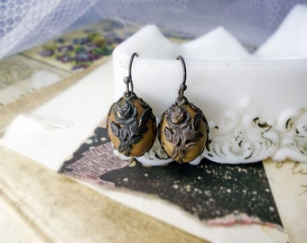 Rustic Assemblage Earrings - Vintage Italian Lucite Cafe au Lait Cabochons, Gothic Tarnished Brass Roses - Earthy Romance