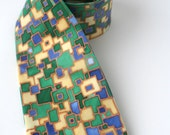Blue green tie, dapper tie , hand painted silk necktie