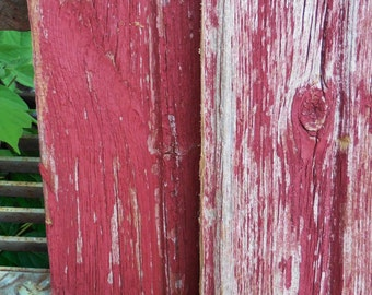 Vintage reclaimed Barn Wood planks boards  red gray weathered Rustic Architectural salvage Home Garden Supplies Two boards 7 1/2 x 24