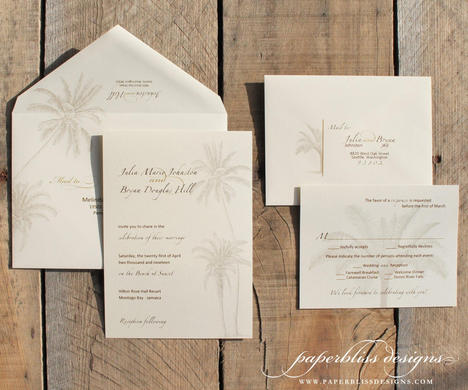 Vintage Beach Wedding Invitation Suite Sample Set