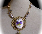 OOAK Assemblage Necklace Purple Pansies Cameo, Filigree, Vintage Pansy Clasp, Rhinestone Chain, Pink Opal Faceted Rhinestone Tube Beads