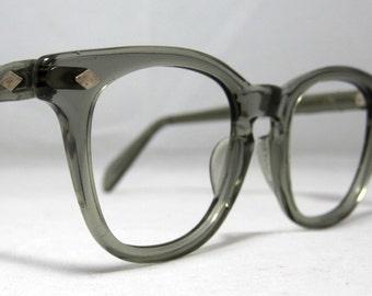 Vintage EyeGlasses Frames Mens Horn Rim Gray Frames