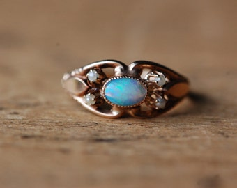 Antique Edwardian 10K opal pearl ring Ostby Barton ∙ 1910s Ostby Barton opal ring