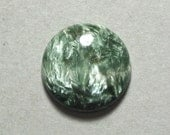 Reserved Listing green SERAPHINITE cabochon round 20mm disc designer cab