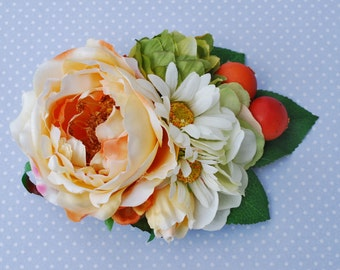 Unique cream and orange english rose with daisies hydrangea and vintage berries vintage wedding bridal hairflower hair piece